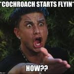 DJ Pauly D Meme | *COCHROACH STARTS FLYIN* HOW?? | image tagged in memes,dj pauly d | made w/ Imgflip meme maker