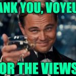 Thank You, Voyeurs! | THANK YOU, VOYEURS FOR THE VIEWS! | image tagged in leonardo dicaprio cheers,views,statistics,imgflip users,thank you,funny memes | made w/ Imgflip meme maker