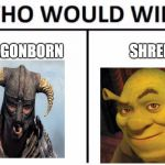 Who Would Win? Meme | DRAGONBORN SHREK | image tagged in memes,who would win | made w/ Imgflip meme maker