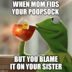 But Thats None Of My Business Meme | WHEN MOM FIDS YOUR POOPSOCK BUT YOU BLAME IT ON YOUR SISTER | image tagged in memes,but thats none of my business,kermit the frog | made w/ Imgflip meme maker