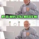 One way or another, she's always had her sights set on me | MY EX-WIFE STILL MISSES ME BUT HER AIM IS IMPROVING | image tagged in memes,hide the pain harold,fun | made w/ Imgflip meme maker