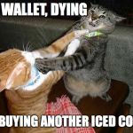Two cats fighting for real | MY WALLET, DYING ME: BUYING ANOTHER ICED COFFEE | image tagged in two cats fighting for real,coffee,coffee addict,iced coffee | made w/ Imgflip meme maker