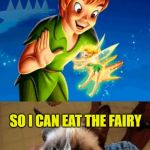 She can fly! She can fly! She can fly! | WITH PIXIE DUST AND ONE HAPPY THOUGHT, YOU CAN FLY, GRUMPY CAT! AND ACCOMPLISH BOTH REQUIREMENTS.  DEAL. SO I CAN EAT THE FAIRY | image tagged in memes,grumpy cat does not believe,grumpy cat,peter pan,tinkerbell,funny | made w/ Imgflip meme maker