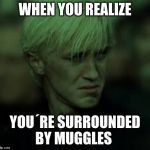 Draco Sad | WHEN YOU REALIZE YOU´RE SURROUNDED BY MUGGLES | image tagged in draco sad | made w/ Imgflip meme maker