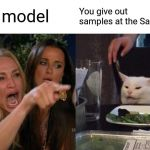 Woman Yelling At Cat Meme | I'm a model You give out samples at the Sams Club | image tagged in memes,woman yelling at cat | made w/ Imgflip meme maker