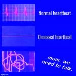heartbeat rate | mom: we need to talk. | image tagged in heartbeat rate | made w/ Imgflip meme maker