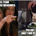 white cat table | THE WHOLE TEAM IMPROVED THOSE MEASURES. YEA BUT THERE WERE ONLY TWO PLAYERS BATTING. | image tagged in white cat table | made w/ Imgflip meme maker