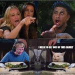 Taylor Armstrong and Pauly D yelling at each other whilst call m | I NEED TO GET OUT OF THIS FAMILY | image tagged in woman yelling at cat,dysfunctional,family,yelling,screaming,crying | made w/ Imgflip meme maker