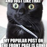 Woah Kitty Meme | AND JUST LIKE THAT MY POPULAR POST ON THE FRONT PAGE IS GONE | image tagged in memes,woah kitty | made w/ Imgflip meme maker