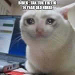 Crying cat | BIBEK : TAK TUK TIK TIK  14 YEAR OLD NIBBI: | image tagged in crying cat | made w/ Imgflip meme maker