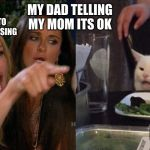 Woman yelling at cat | MY MOM TRYING TO GROUND ME FOR CURSING ME MY DAD TELLING MY MOM ITS OK | image tagged in woman yelling at cat | made w/ Imgflip meme maker