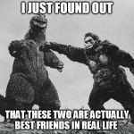godzilla and kong | I JUST FOUND OUT THAT THESE TWO ARE ACTUALLY BEST FRIENDS IN REAL LIFE | image tagged in godzilla and kong | made w/ Imgflip meme maker