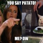 Woman yelling at cat | YOU SAY PATATO! ME? OW | image tagged in woman yelling at cat | made w/ Imgflip meme maker