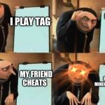 jiuhyf | I PLAY TAG MY FRIEND CHEATS MY FRIEND CHEATS I DELETE HIS MINECRAFT ACCOUNT | image tagged in grus plan evil | made w/ Imgflip meme maker