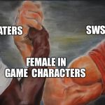 Black White Arms | SWSH HATERS SWSH LOVERS FEMALE IN GAME  CHARACTERS | image tagged in black white arms | made w/ Imgflip meme maker