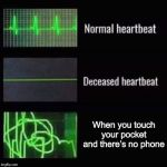 Where's my phone? | When you touch your pocket and there's no phone | image tagged in heartbeat rate,phone,lose phone | made w/ Imgflip meme maker