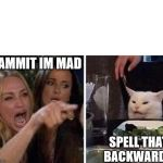 Ladies Yelling at Confused Cat | DAMMIT IM MAD SPELL THAT BACKWARDS | image tagged in ladies yelling at confused cat | made w/ Imgflip meme maker