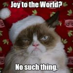 Grumpy Cat Christmas | Joy to the World? No such thing. | image tagged in grumpy cat christmas | made w/ Imgflip meme maker
