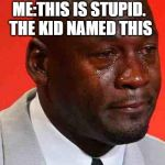 crying michael jordan | ME:THIS IS STUPID.  THE KID NAMED THIS | image tagged in crying michael jordan | made w/ Imgflip meme maker