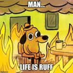 Dog in burning house | MAN... LIFE IS RUFF | image tagged in dog in burning house | made w/ Imgflip meme maker