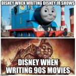 Thomas the creepy tank engine | DISNEY WHEN WRITING DISNEY JR SHOWS DISNEY WHEN WRITING 90S MOVIES | image tagged in thomas the creepy tank engine | made w/ Imgflip meme maker