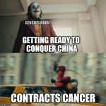Joaquin Phoenix Joker Car | GETTING READY TO  CONQUER CHINA CONTRACTS CANCER GENGHIS KHAN | image tagged in joaquin phoenix joker car | made w/ Imgflip meme maker
