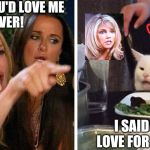 Smudge the cat | YOU SAID YOU'D LOVE ME FOREVER! I SAID I HAVE LOVE FOR HEATHER. | image tagged in smudge the cat | made w/ Imgflip meme maker