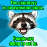 Lame Pun Coon Meme | The cemetery is an awesome place. People are dying to get in. | image tagged in memes,lame pun coon | made w/ Imgflip meme maker
