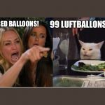 salad cat | 99 RED BALLOONS! 99 LUFTBALLONS!!! | image tagged in salad cat | made w/ Imgflip meme maker