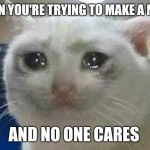 crying cat | WHEN YOU'RE TRYING TO MAKE A MEME AND NO ONE CARES | image tagged in crying cat | made w/ Imgflip meme maker