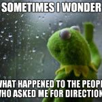 kermit the frog | SOMETIMES I WONDER WHAT HAPPENED TO THE PEOPLE WHO ASKED ME FOR DIRECTIONS | image tagged in sad kermit,sometimes i wonder,sometimes,kermit window,sometimes i wonder what happened | made w/ Imgflip meme maker