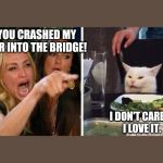 Smudge the cat | YOU CRASHED MY CAR INTO THE BRIDGE! I DON'T CARE.     I LOVE IT. | image tagged in smudge the cat | made w/ Imgflip meme maker
