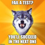When you fail a test | FAIL A TEST? YOU'LL SUCCEED IN THE NEXT ONE | image tagged in memes,courage wolf | made w/ Imgflip meme maker