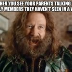 It's been too long!... | WHEN YOU SEE YOUR PARENTS TALKING TO FAMILY MEMBERS THEY HAVEN'T SEEN IN A WHILE | image tagged in memes,what year is it,christmas,parents | made w/ Imgflip meme maker