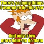 Fry Freaking Out | There's so many things I wanted to do this year And only a few more hours to do them | image tagged in fry freaking out,new year,happy new year | made w/ Imgflip meme maker