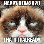 Grumpy Cat Not Amused Meme | HAPPY NEW 2020 I HATE IT ALREADY | image tagged in memes,grumpy cat not amused,grumpy cat | made w/ Imgflip meme maker