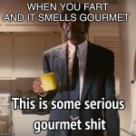 This is some serious gourmet shit | WHEN YOU FART AND IT SMELLS GOURMET | image tagged in this is some serious gourmet shit | made w/ Imgflip meme maker
