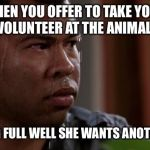 sweating bullets | WHEN YOU OFFER TO TAKE YOUR WIFE TO VOLUNTEER AT THE ANIMAL SHELTER KNOWING FULL WELL SHE WANTS ANOTHER DOG. | image tagged in sweating bullets | made w/ Imgflip meme maker