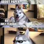 Bad Joke Dog | I WOULD TELL YOU A JOKE ABOUT PAPER... BUT IT'S JUST TEARABLE | image tagged in bad joke dog | made w/ Imgflip meme maker