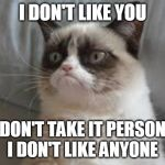 Grumpy cat | I DON'T LIKE YOU BUT DON'T TAKE IT PERSONALLY I DON'T LIKE ANYONE | image tagged in grumpy cat | made w/ Imgflip meme maker
