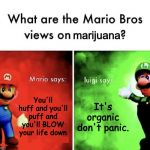 Mario Bros Views | You'll huff and you'll puff and you'll BLOW your life down It's organic don't panic. marijuana | image tagged in mario bros views | made w/ Imgflip meme maker