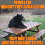 And chips... and fish... and marshmallows... and chocolate... | WHENEVER I TELL PEOPLE I'M HUNGRY THEY ALWAYS RUN THEY DON'T EVEN GIVE ME A CHANCE TO TELL THEM I LIKE SANDWICHES | image tagged in memes,bad luck bear,camping,picnic,44colt,food | made w/ Imgflip meme maker