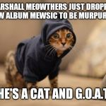 Hoody Cat Meme | MARSHALL MEOWTHERS JUST DROPPED HIS NEW ALBUM MEWSIC TO BE MURPURRED BY HE'S A CAT AND G.O.A.T | image tagged in memes,hoody cat | made w/ Imgflip meme maker
