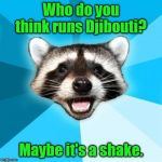 Lame Pun Coon Meme | Who do you think runs Djibouti? Maybe it's a shake. | image tagged in memes,lame pun coon | made w/ Imgflip meme maker