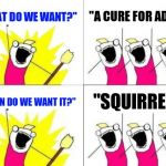 "What Do We Want Meme | ""WHAT DO WE WANT?"" ""A CURE FOR ADHD!"" ""WHEN DO WE WANT IT?"" ""SQUIRREL!"" 