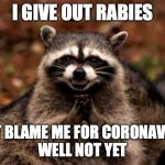 Evil Plotting Raccoon Meme | I GIVE OUT RABIES CAN'T BLAME ME FOR CORONAVIRUS! WELL NOT YET | image tagged in memes,evil plotting raccoon,coronavirus,funny memes | made w/ Imgflip meme maker