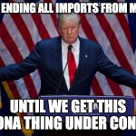 Donald Trump | WE'RE ENDING ALL IMPORTS FROM MEXICO UNTIL WE GET THIS CORONA THING UNDER CONTROL | image tagged in donald trump | made w/ Imgflip meme maker