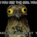 True or not?! | WHEN YOU SEE THE GIRL YOU LIKE: ... AND SHE LOOKS AT YOU!? | image tagged in memes,weird stuff i do potoo,boy,girls,girlfriend,boyfriend | made w/ Imgflip meme maker