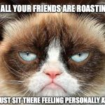 Grumpy Cat Not Amused Meme | WHEN ALL YOUR FRIENDS ARE ROASTING YOU SO YOU JUST SIT THERE FEELING PERSONALLY ATTACKED | image tagged in memes,grumpy cat not amused,grumpy cat | made w/ Imgflip meme maker