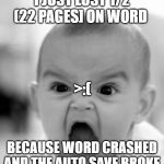 Angry Baby Meme | I JUST LOST 1/2 (22 PAGES] ON WORD BECAUSE WORD CRASHED AND THE AUTO SAVE BROKE >:( | image tagged in memes,angry baby | made w/ Imgflip meme maker
